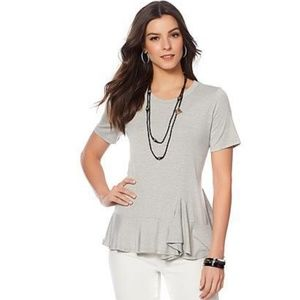 Gray Asymmetrical Ruffle Hem Top by Diane Gilman